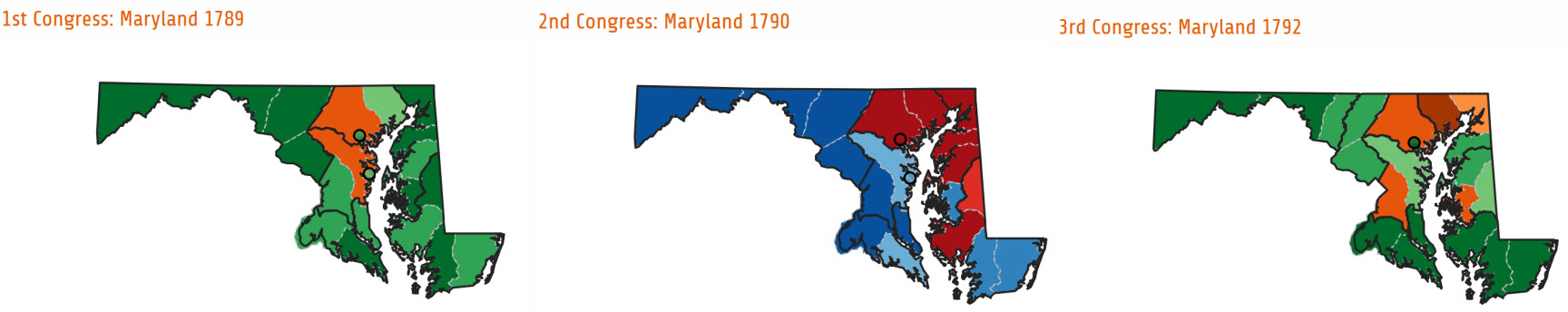 Shifting votes for parties in the first three Congressional elections in Maryland.