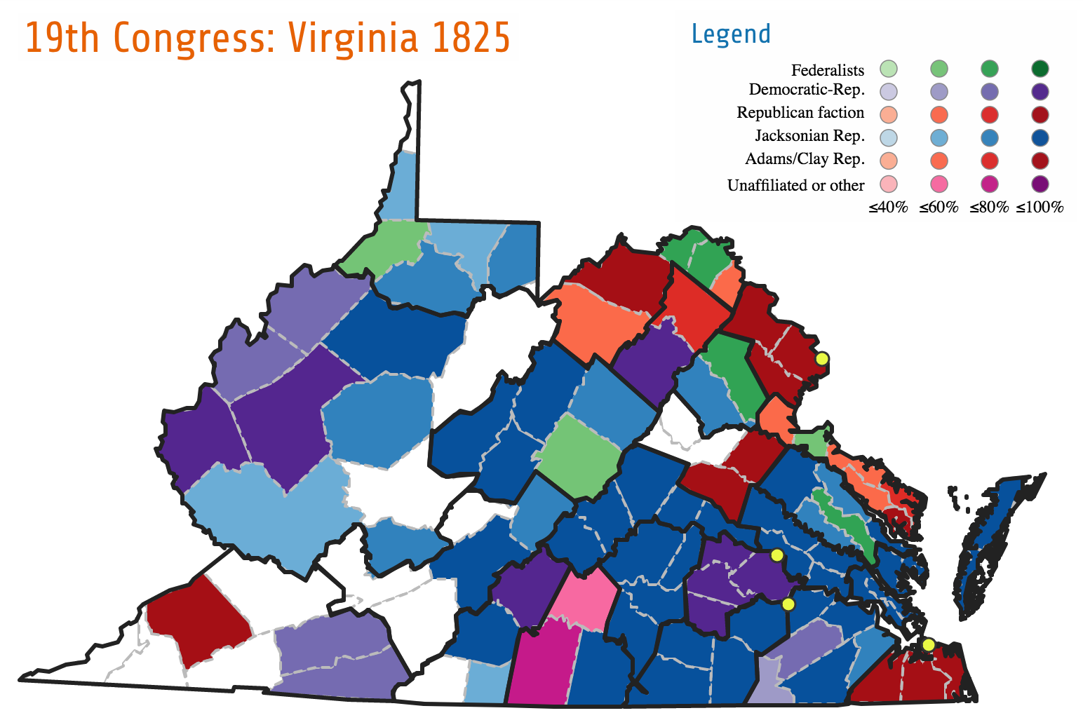 The map of Virginia's election for the 19th Congress illustrates how the Democratic-Republic party fragmented into a number of factions by the 1820s. In this election, candidates ran for the Federalist and Democratic-Republican parties, but also in factions aligned with Jackson and Adams/Clay. Those factions eventually became the Democrats and Whigs.