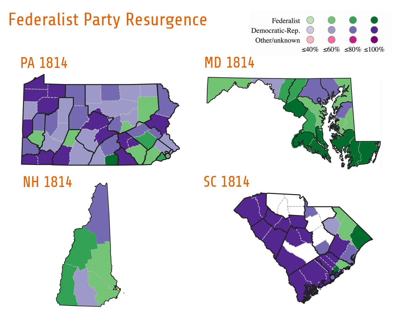 After 1800, the Federalist's influence slowly declined. While they were able to contest local elections, they were no longer able to win the presidency or control Congress. However, as these map show, the Federalist Party (green) experienced a resurgence across the country during the War of 1812. During elections for the Fourteenth Congress, Federalist-leaning states in the north such as New Hampshire elected all Federalist representatives. Federalists also won seats in the Mid-Atlantic in states such as Maryland (5 out of 9 seats) and Pennsylvania (7 out of 23 seats). Even voters in South Carolina elected one Federalist to Congress.