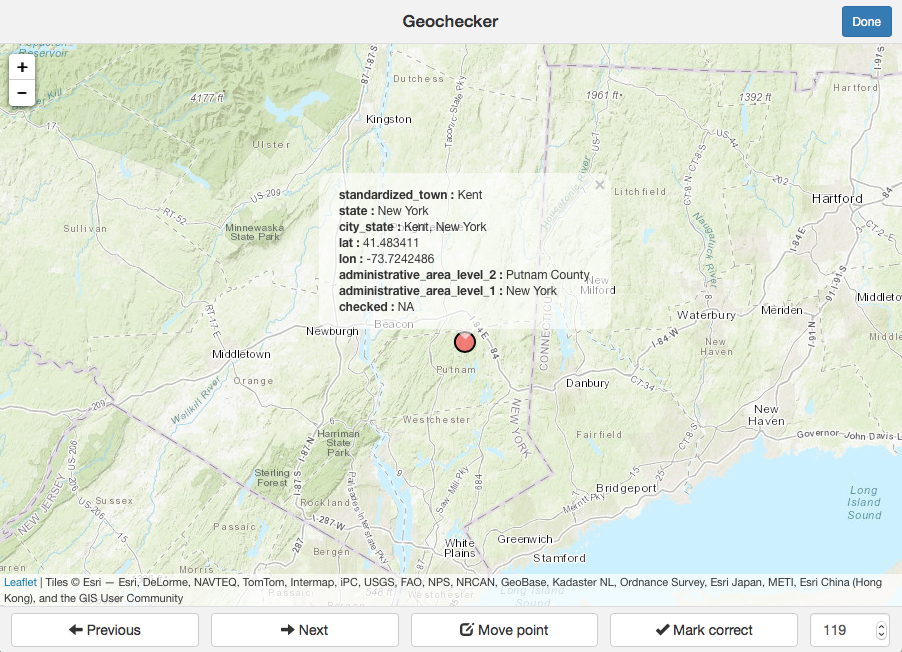 An example of using the Geochecker app to verify a town's location.