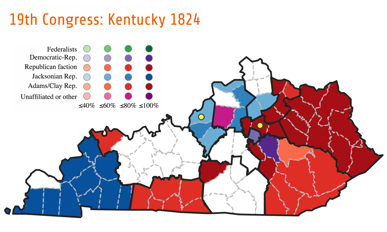 After 1820, the Democratic-Republicans splintered into several groups, each supporting a different presidential hopeful. During Kentucky's election for the Nineteenth Congress, voters supported the traditional Democratic-Republican party (purple), a faction led by John Quincy Adams and Henry Clay (red), or a faction led by Andrew Jackson (blue). The Adams/Clay faction won seven seats, while the Jackson faction won five seats.