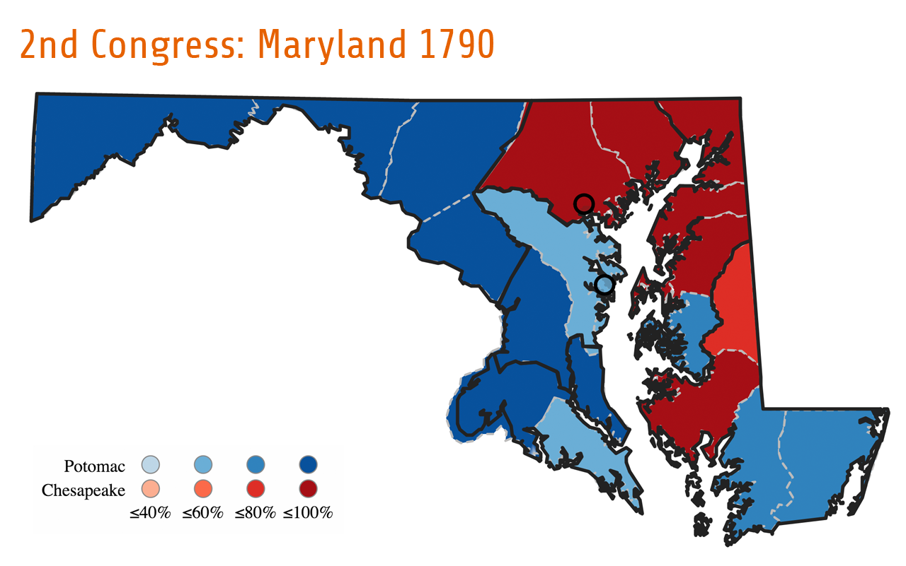 Maryland's election for the Second Congress demonstrates how topography and physical features played a determinative role in shaping the state's political development. After mixed reactions to Congress's decision to place the nation's capital on the Potomac River at Washington, D.C., Maryland's congressional candidates deviated from national affiliations to address a local issue. Instead, they formed two geographically-based parties: the Chesapeake Party (red) and the Potomac Party (blue). As the map shows, counties along the Potomac River expressed their approval of Congress's decision by voting for Potomac candidates, while counties at the top of Chesapeake Bay and along the Eastern Shore made their outrage at the Compromise of 1790 known by voting for Chesapeake candidates. Counties located between the two waterways generally split their votes among both parties.