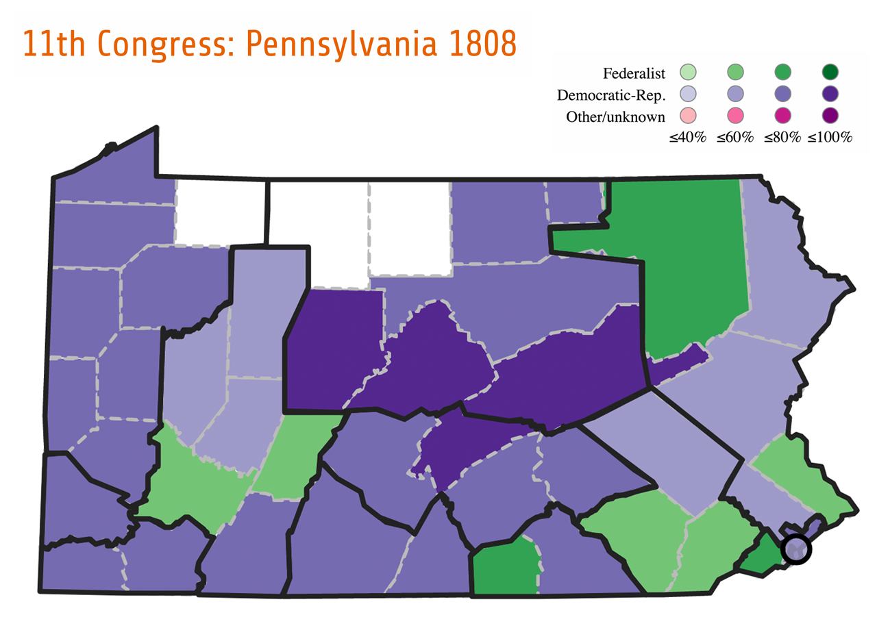 Muti-member districts were often created and used for political purposes. For example, Pennsylvania contained several Federalist-leaning counties (green) with large populations that could have easily been their own single-member district and voted for their own Congressman. However, in order to curb the number of Federalists elected to Congress, the Republican-controlled state legislature grouped these Federalist counties with counties that heavily supported the Democratic-Republicans (purple) to create enormous Congressional districts which elected more than one member. This arrangement often allowed voters in the Republican-supported counties in a muti-member district to out-vote those supporting the Federalists. Pennsylvania's Eleventh congressional election shows successful results of this strategy. By grouping Delaware County (Federalist majority) with Philadelphia County and the City of Philadelphia (Republican majority), District 1 elected three out of three Democratic-Republican congressmen.