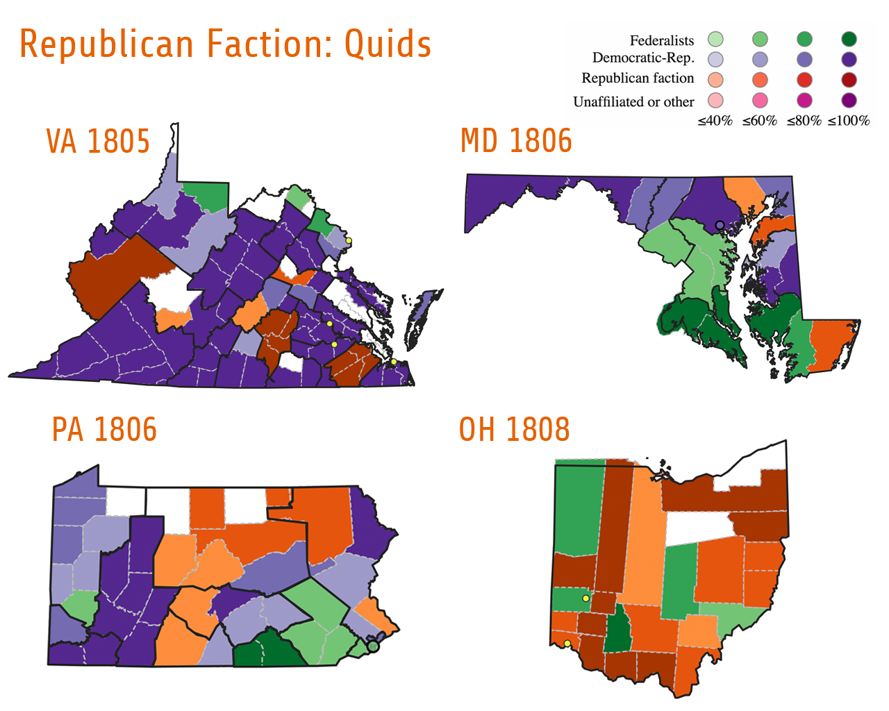 "These four maps demonstrate the varied support in several states for the ""Tertium Quids"" (orange/brown), a Democratic-Republican faction which combined disaffected Republicans with like-minded Federalists. Two Quid candidates were elected for the Ninth Congress in Virginia and for the Tenth Congress in Pennsylvania. In Ohio's election for the Eleventh Congress Quid Jeremiah Morrow won the state's only seat with 71.5% of the vote. In Maryland's election for the Tenth Congress Quid candidates received votes in five out of eight districts, but none were elected to Congress."